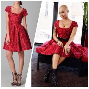 Zac Posen red taffeta leopard print dress